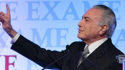 Michel Temer em fórum empresarial em São Paulo.