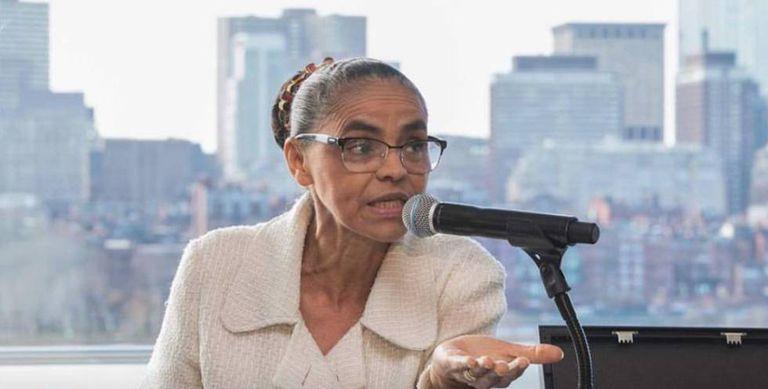 Marina Silva fala em conferência nos EUA.