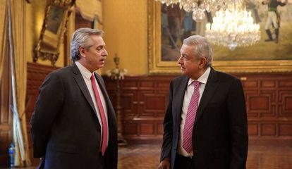 Os presidentes da Argentina, Alberto Fernández, e do México, Andrés Manuel López Obrador, nesta segunda-feira.