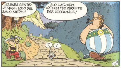 Quadrinho de Asterix e Obelix publicado no primeiro número da revista Pilote.