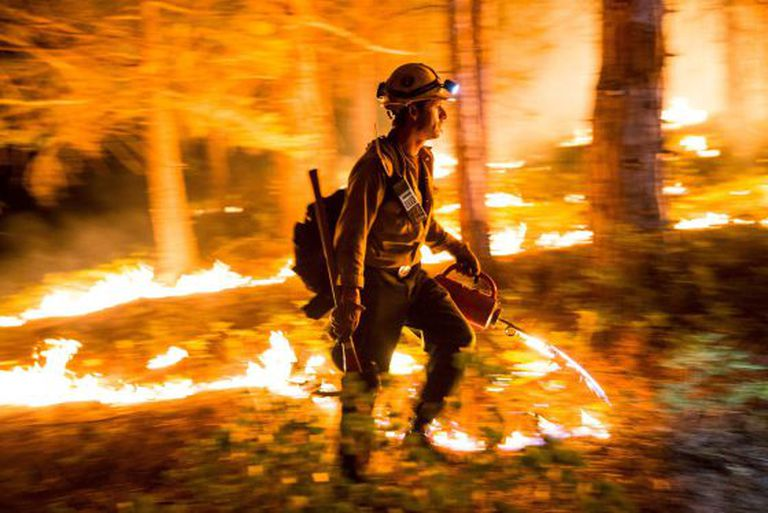 Bombeiro da Califórnia tenta alterar o rumo do incêndio.