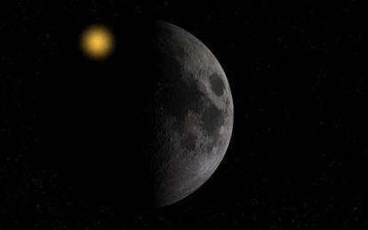 Simulação do impacto de uma rocha na superfície da Lua.