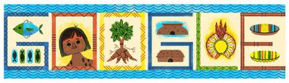 Doodle criado pelo Google para celebrar o 56º aniversário do Parque Indígena do Xingu.