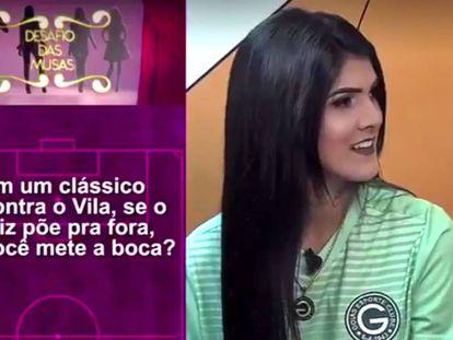 Karol Barbosa, torcedora do Goiás, durante o programa Os Donos da Bola.