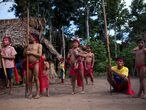 FILE PHOTO: Yanomami Indians perform a dance at the community of Irotatheri, during a government trip for journalists, in the southern Amazonas state of Venezuela, just 19km (12 miles) from Brazil's border, September 7, 2012. REUTERS/Carlos Garcia Rawlins/File Photo