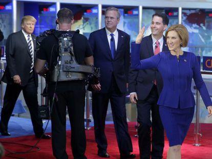 Carly Fiorina e os adversários republicanos.