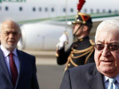O presidente iraquiano, Fuad Masum, quando chegou a Paris.
