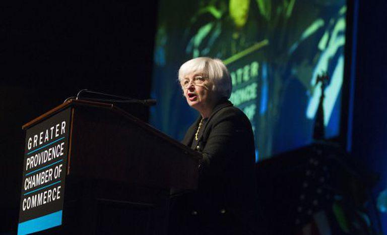 Janet Yellen, presidenta do FED, fala na semana passada.