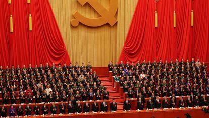 O presidente Xi Jinping na abertura do 19º Congresso do Partido Comunista chinês.