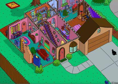 Recriação da casa dos Simpsons pelo ilustrador Andrew Delong.