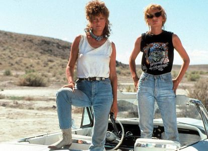 Susan Sarandon e Geena Davis, atrizes abertamente feministas, encarnam a força da mulher em 'Thelma e Louise'.