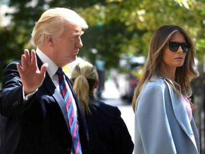 O presidente Donald Trump e sua esposa Melania em Washington.