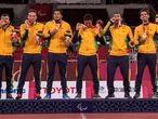 Equipe de ouro do goalball é formada por Alex, Emerson, José Roberto, Parazinho, Leomon e Romário.