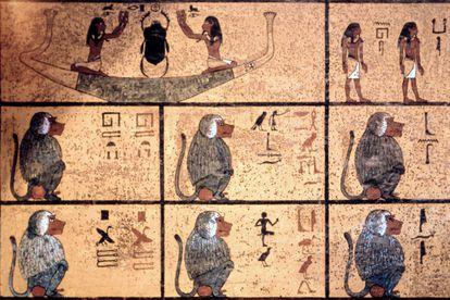 O deus Thoth representado como um babuíno.