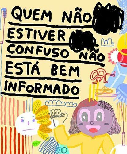 Pedro Vinício, 15 anos, posta ilustrações com frases engraçadas no Instagram.