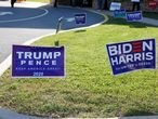 Campaign signs of U.S. President Donald Trump and presidential nominee and former Vice President Joe Biden are seen on Election Day in Cherryville, Pennsylvania, U.S., November 3, 2020. REUTERS/Rachel Wisniewski