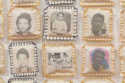 Parede da Memória, 1994-2015. Aquarela, manta acrílica e fotocópia sobre papel colado em tecido e papel costurados. Acervo da Pinacoteca do Estado de São Paulo.