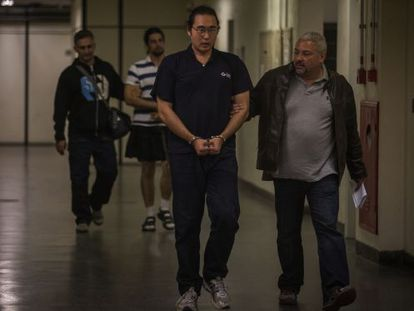 O manifestante Fabio Harano preso.