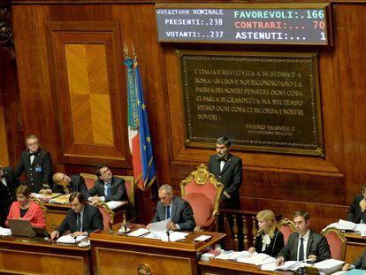 Plenário do Senado italiano após a aprovação do orçamento de 2017, nesta quarta-feira.