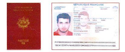 Imagem do falso passaporte francês apreendido com Seddiki.