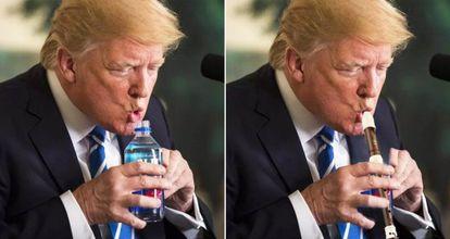 Esta foto de Trump em novembro de 2017 gerou uma nova onda de memes sobre o presidente norte-americano.
