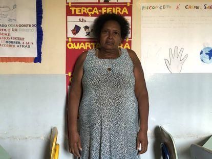 Maria Siilva Nunes, no refeitório de uma escola de Heliópolis