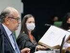 O presidente da Segunda Turma do STF, Gilmar Mendes, na sessão que julga a suspeição do ex-juiz Sergio Moro, no caso que levou à prisão de Lula, nesta terça-feira.