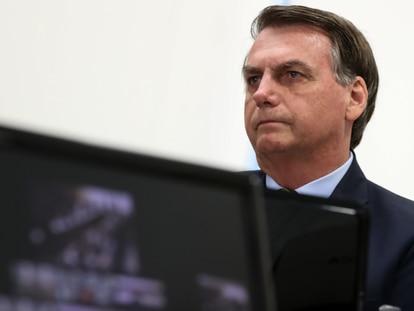 O presidente Jair Bolsonaro durante teleconferência com governadores.
