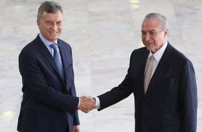 Temer recebe Macri no Palácio do Planalto