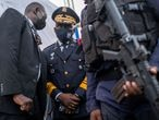 El jefe de la policía haitiana, Leon Charles, supervisa la seguridad del funeral de Jovenel Moïse el 23 de julio.