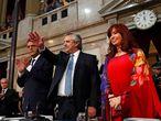 Alberto Fenrández y Cristina Fernández de Kirchner saludan este domingo durante la apertura de las sesiones ordinarias del Congreso.