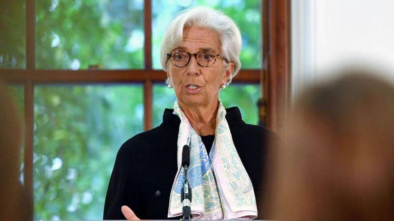 A diretora do FMI, Christine Lagarde, nesta segunda-feira na Chancelaria do Tesouro do Reino Unido, em Londres