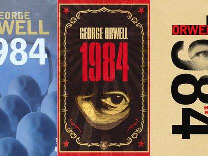Capas de várias edições do romance '1984', de George Orwell.