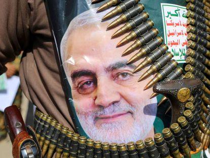 Apoio ao general Soleimani no Iêmen, na segunda-feira.