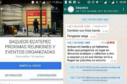 Imagens de telas dos grupos nas redes sociais em que os saques são organizados.