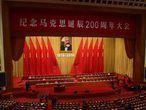 O presidente chinês, Xi Jinping, durante um discurso em maio pelo 200º aniversário do nascimento de Marx