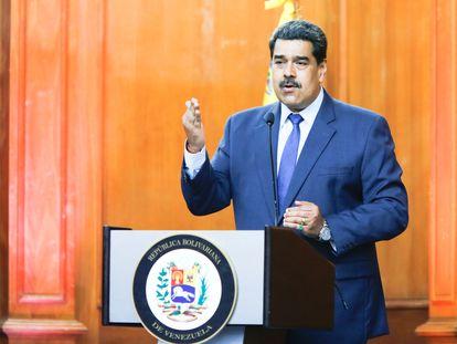 Nicolás Maduro durante um anúncio em Caracas.