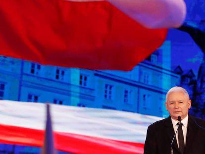 Jaroslaw Kaczynski, líder do Partido Lei e Justiça, num evento partidário em 2 de setembro