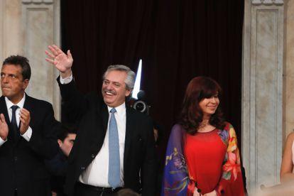 O presidente argentino, Alberto Fernández, e a vice-presidenta Cristina Fernández participam da inauguração das sessões ordinárias do Congresso, em 1º de março.