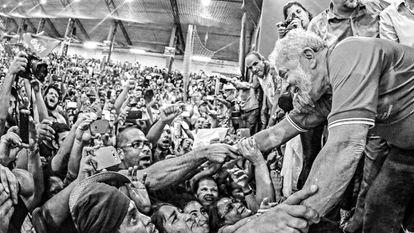 Lula em ato do Sindicato dos Bancários no dia 4 de março.
