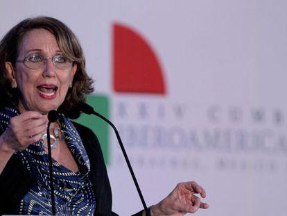 Rebeca Grynspan fala em encontro empresarial, no sábado.