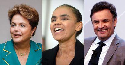 Montagem sobre imagens de Rousseff, Marina e Aécio.
