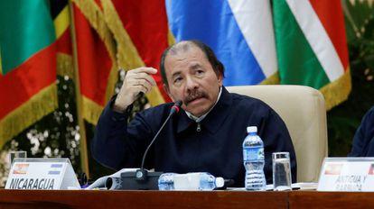 O presidente da Nicarágua, Daniel Ortega, durante a XVI Cúpula da ALBA.