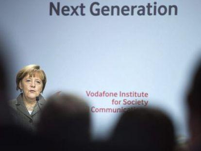 Angela Merkel durante seminário em Berlim.