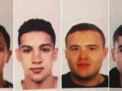 As fotos dos quatro suspeitos distribuídas às unidades policiais.