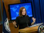(FILES) In this file photo taken on February 20, 2015 US State Department spokeswoman Jen Psaki delivers a daily briefing at the US State Department in Washington, DC. - US President-elect Joe Biden on Sunday announced an all-female senior White House communications team, what his office called a first in the country's history. Among those named was Jen Psaki, who will serve in the highly visible role of White House press secretary. Psaki, 41, has held a number of senior positions, including White House communications director for the Barack Obama-Biden administration. (Photo by BRENDAN SMIALOWSKI / AFP)