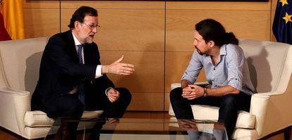 Mariano Rajoy com Pablo Iglesias