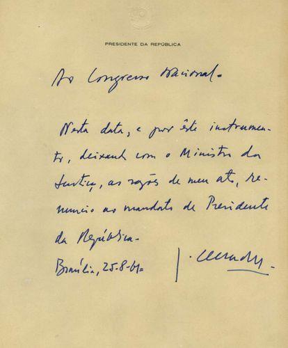 Bilhete de renúncia enviado por Jânio ao Congresso.