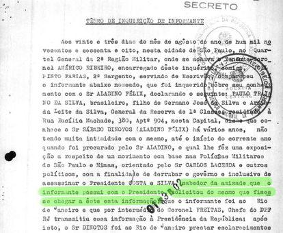 Trecho do depoimento do General Paulo Trajano da Silva sobre sua ligação com o então presidente Costa e Silva.