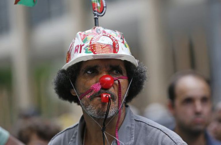 Protesto contra a corrupção em frente à Petrobras, no dia 4 de fevereiro, no Rio.